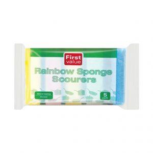 First Value Rainbow Sponge Scourers  Scourers(1×5's)
